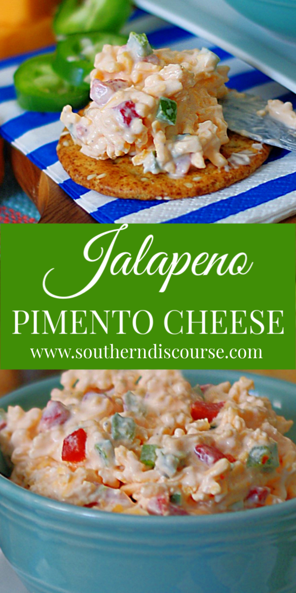 This easy homemade Southern Pimento Cheese recipe with diced jalapenos delivers classic, old fashioned taste with a kick! Perfect for sandwiches or served with crackers as an appetizer, this simple, creamy spread is addictively delicious! #southerndiscourse #pimentocheese #southern #homemade #spicy #oldfashioned #classic