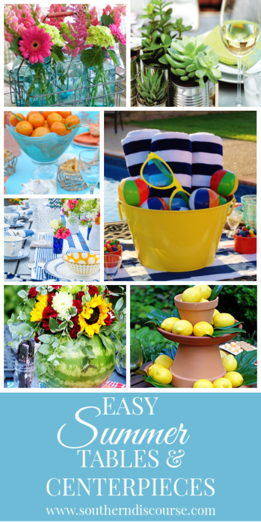 7 Easy Summer tables and centerpieces to celebrate the season!  With and without flowers, beach inspired, outdoors, elegant and simple. #southerndiscourse #party #masonjars #beach #lemons #shells #centerpieces #poolparty