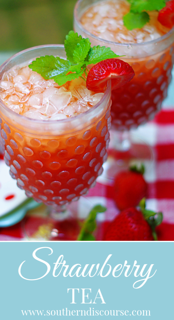 Refreshing & made with fresh fruit, this easy strawberry tea doesn't require any simple syrup. Macerated sweet berries make classic southern sweet tea a summer favorite! Perfect parties, brunches and showers. #southerndiscourse #strawberry #sweettea #icedtea #southernsummer