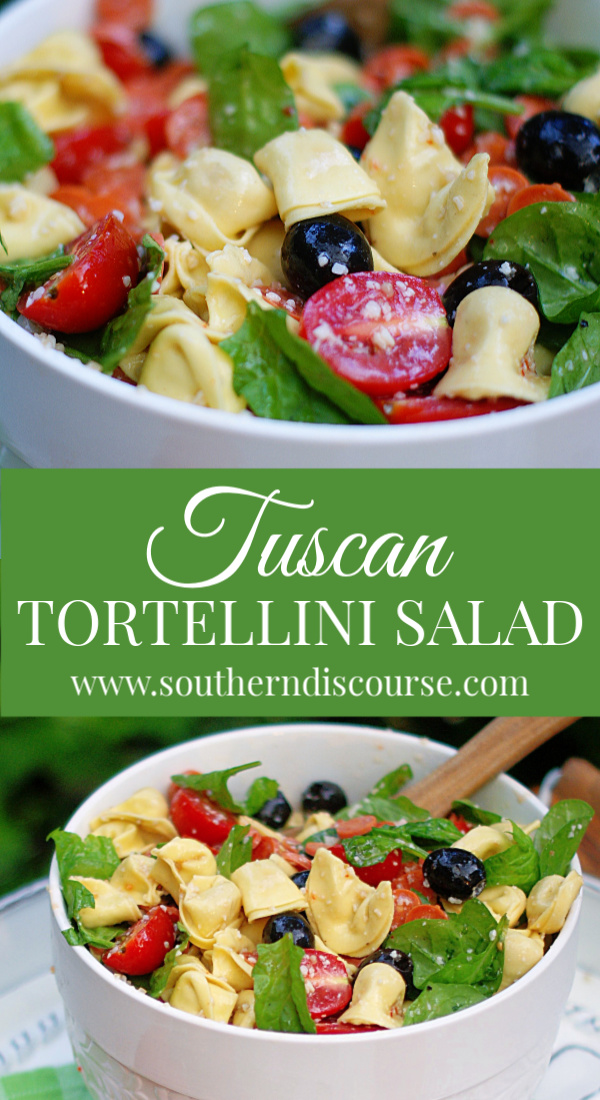 This easy Tuscan Tortellini Salad recipes is one of the best pasta salad recipes! A cold pasta salad full of tomatoes, spinach, Parmesan cheese, pepperoni and black olives in a zesty Italian dressing! #southerndiscourse #pastasalad #cheesetortellini #fresh