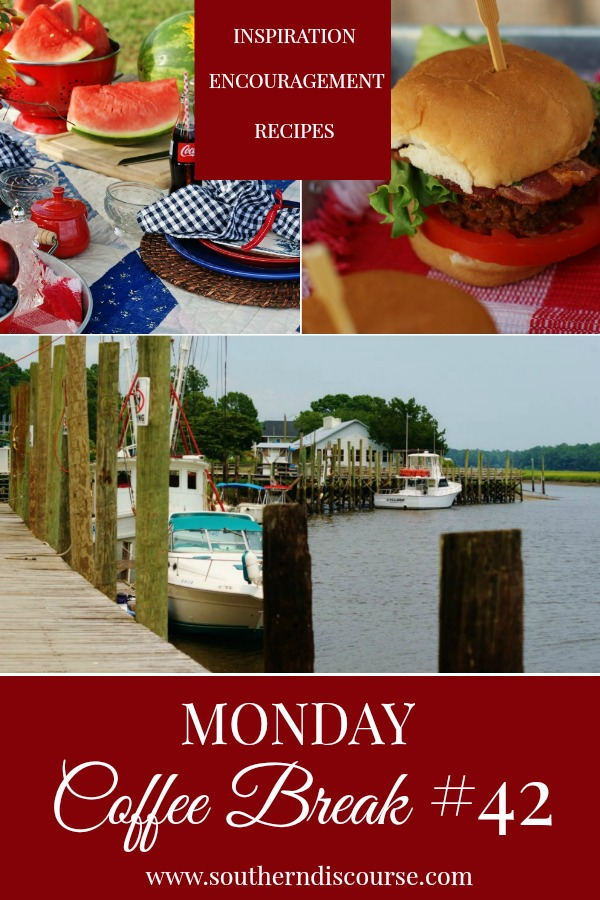 Monday Coffee Break, a weekly series full of Biblical encouragement, inspiration for easy hospitality and delicious recipes to help us live out lives Proverbs 31 strong. This week's Coffee Break features a July 4th picnic, summer nostalgia, perfect crab cake sliders, and a little about Calabash, NC and their seafood. #southerndiscourse #southernsummer #July4th #NorthCarolina #Calabash #crabcakes #proverbs31woman