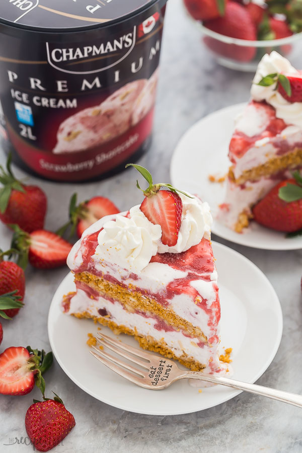 A slice of strawberry shortcake ice cream cake
