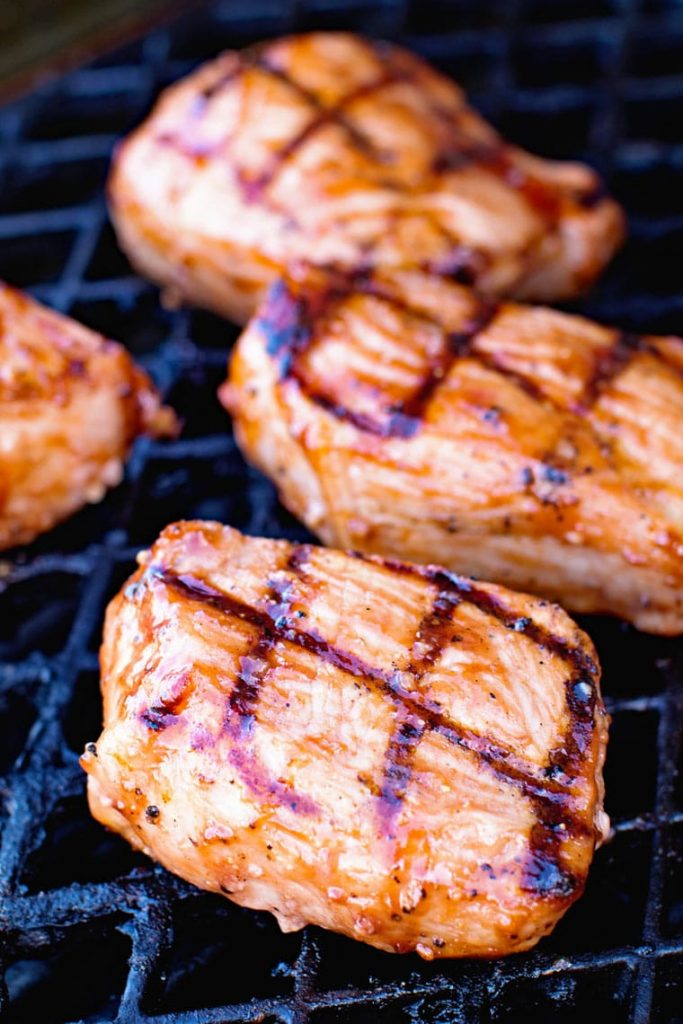 BBQ Pork Chops on the grill