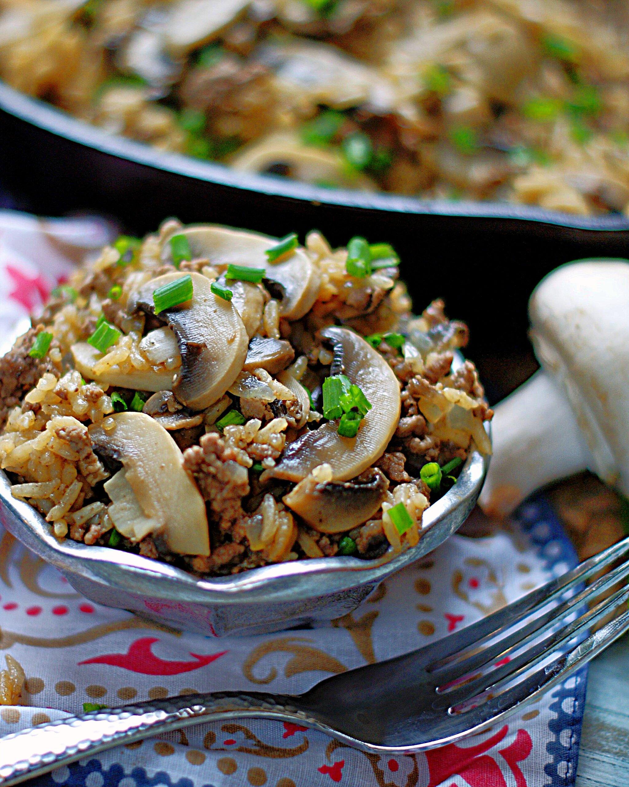 Beef & Mushroom Rice in a bowl