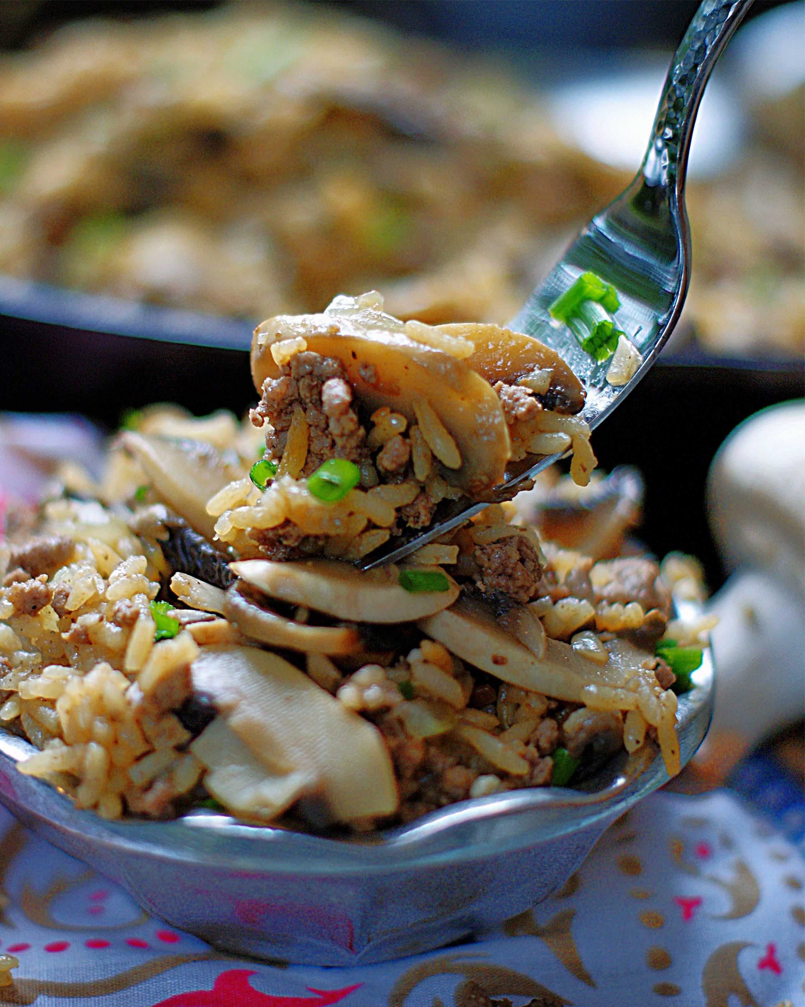Beef & Mushroom Rice on  a fork.