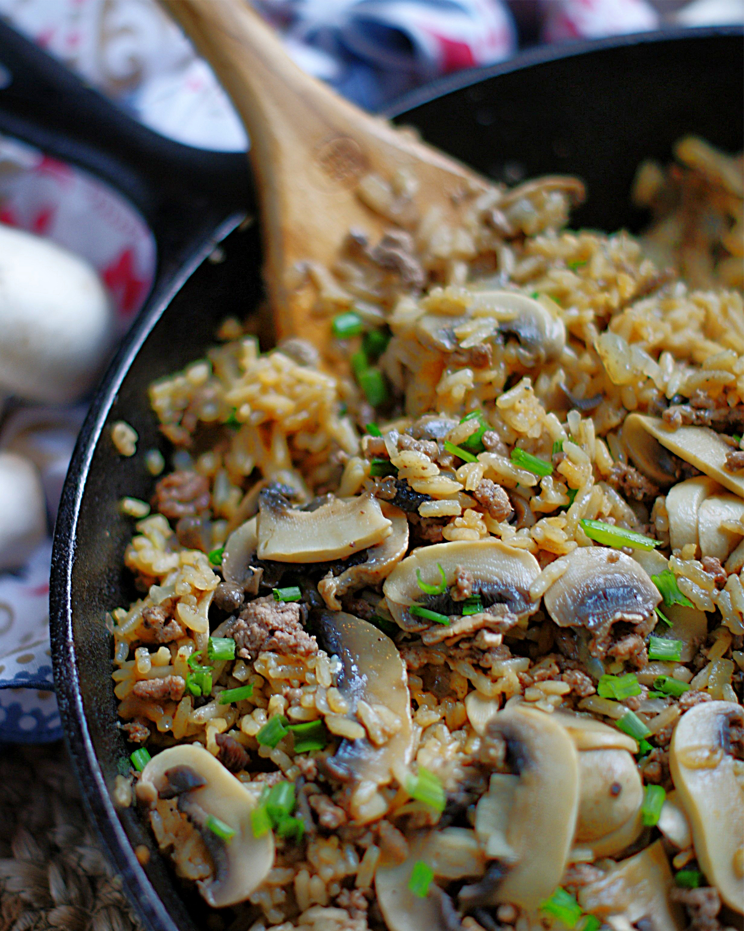 Finished Beef & Mushroom Rice in a skillet.