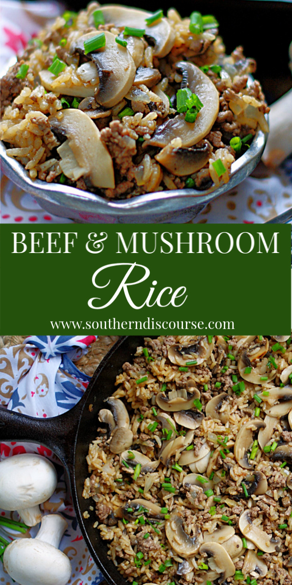 This easy recipe for Beef & Mushroom Rice is the best around!  Simple and full of robust flavor, this beefy casserole -like dish simmers in a skillet to create the perfect side or main dish.  #southerndiscourse #frenchonion #onionsoup #mushroom #rice
