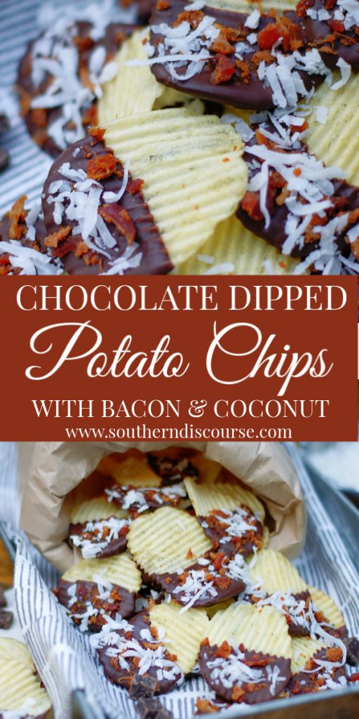 Perfect for holidays, parties, game days and tailgates, this fun and easy treat is sweet & salty heaven! Dipped in dark chocolate, bacon & coconut take this snack up a notch! Makes a great gift too. #potatochips #darkchocolate #bacon #southerndiscourse