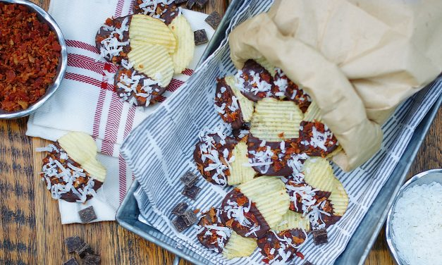 Chocolate Dipped Potato Chips with Bacon & Coconut