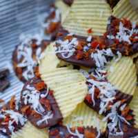 Chocolate Dipped Potato Chips close up