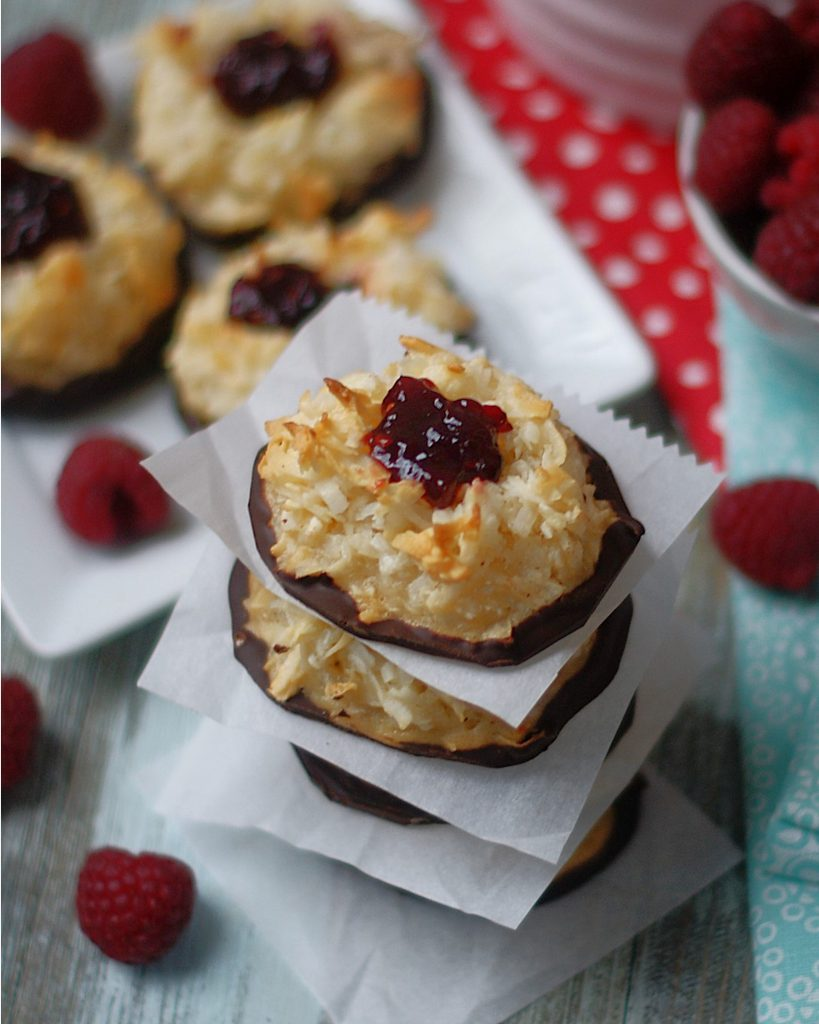 Coconut Macaroons with a raspberry jam thumbprint