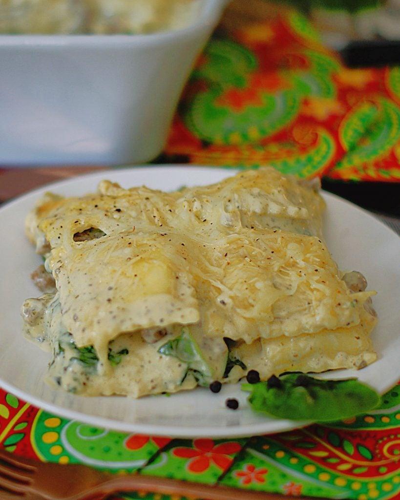 A plate of white ravioli casserole.