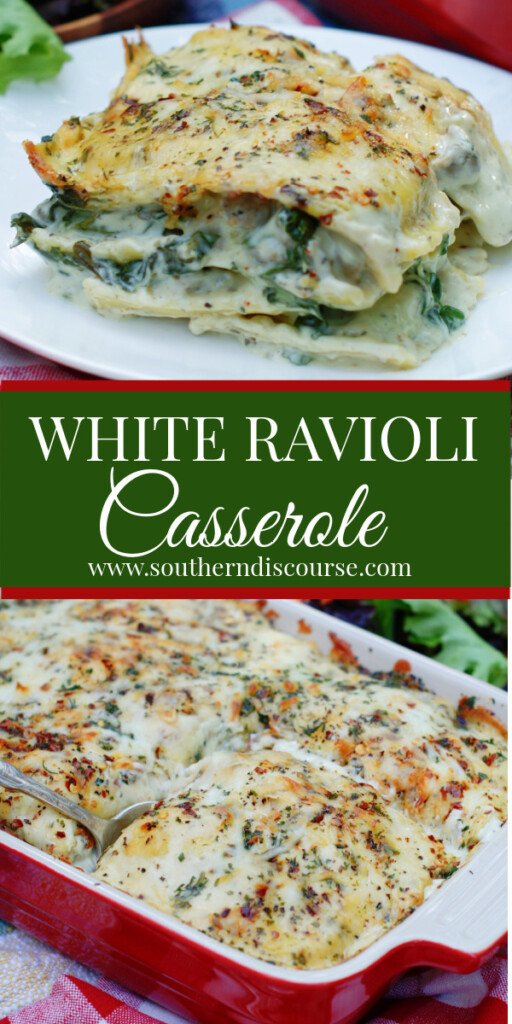 This easy White Ravioli Casserole recipe is full of shortcuts!  Layers of spinach, frozen cheese ravioli,  sausage crumbles, Alfredo sauce & cheese are baked to a golden, bubbly perfection in no time flat to create a delicious lasagna-style family meal.  With just 6 ingredients and 2 steps, it's perfect for busy weeknights, but special enough for guests!