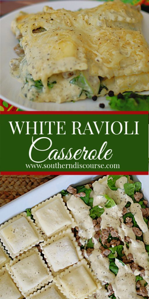 This easy recipe is full of shortcuts to make a delicious lasagna style casserole with white sauce!  Layers of spinach, frozen cheese ravioli, Italian sausage, Alfredo sauce & cheese are baked to a golden, bubbly baked perfection in no time at all.  Perfect for busy nights.  Makes enough for guests!  #southerndiscourse #lasagna #ravioli #shortcutrecipe #weeknight