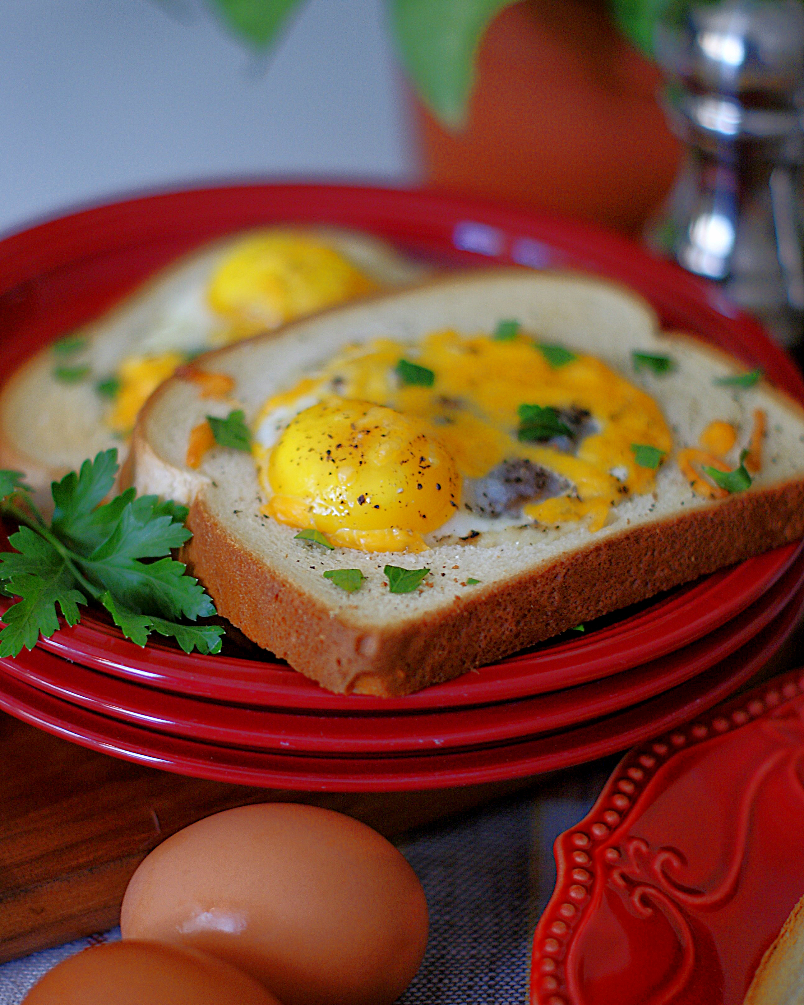 2 eggs in a basket on one plate.