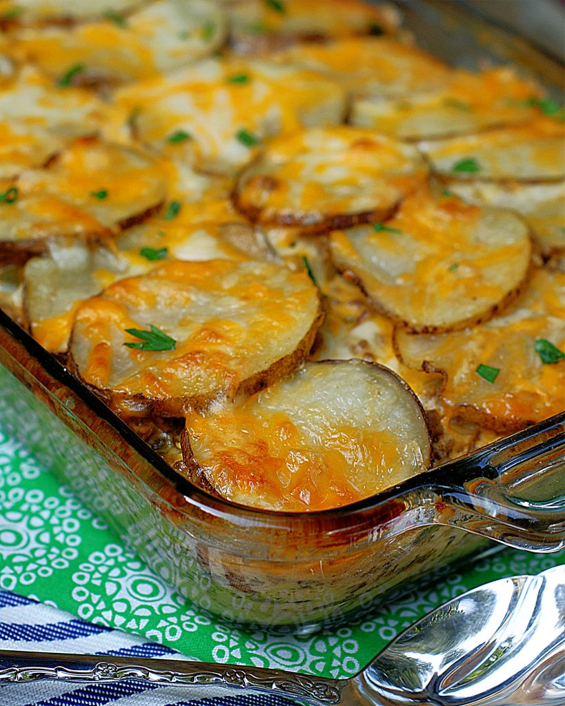 A pan Meat & Potatoes Au Gratin right out of the oven