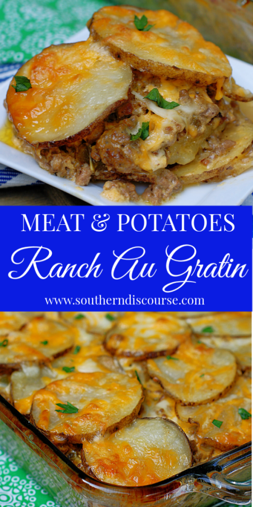 This cheesy meat & potatoes casserole is made better with the zestiness of Ranch salad dressing. An easy family dinner recipe baked right in your oven! #southerndiscourse #meatandpotatocasserole #familymeals