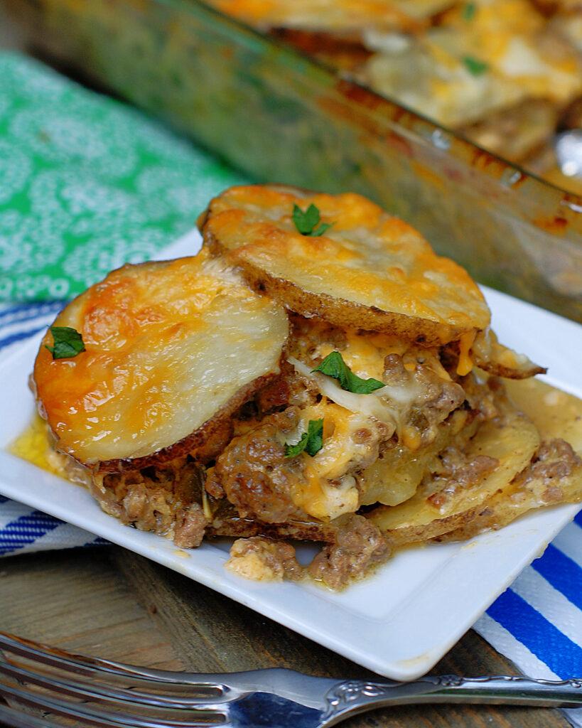 A serving of meat & potatoes au gratin casserole