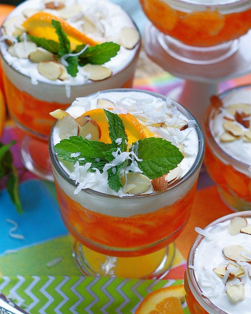 A close of the coconut sour cream topping for Orange Jello Salad