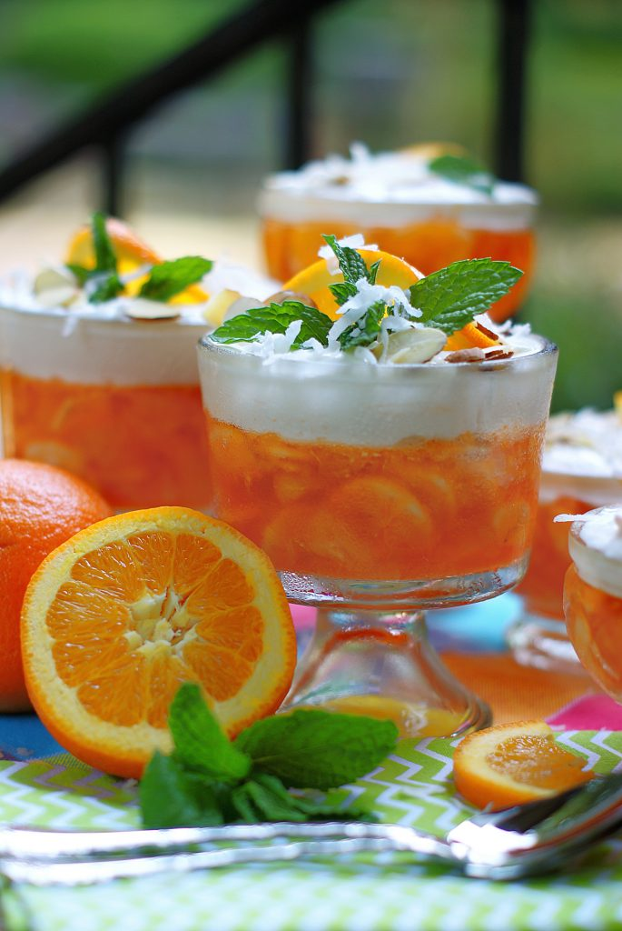 Orange Jello Salad Styled photo with orange slices