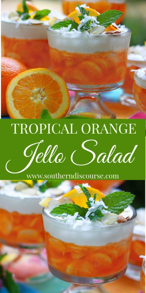Light & refreshing, this Tropical Orange Jello Salad is loaded mandarin oranges, pineapple, bananas and topped with a cloud of coconut flavored, sweetened sour cream. Sprinkle on a few sliced almonds and you have a delicious layered dessert that is perfect for cookouts, picnics, holidays and family dinners! #southerndiscourse #jellosalad #fruitsalad #mandarinoranges
