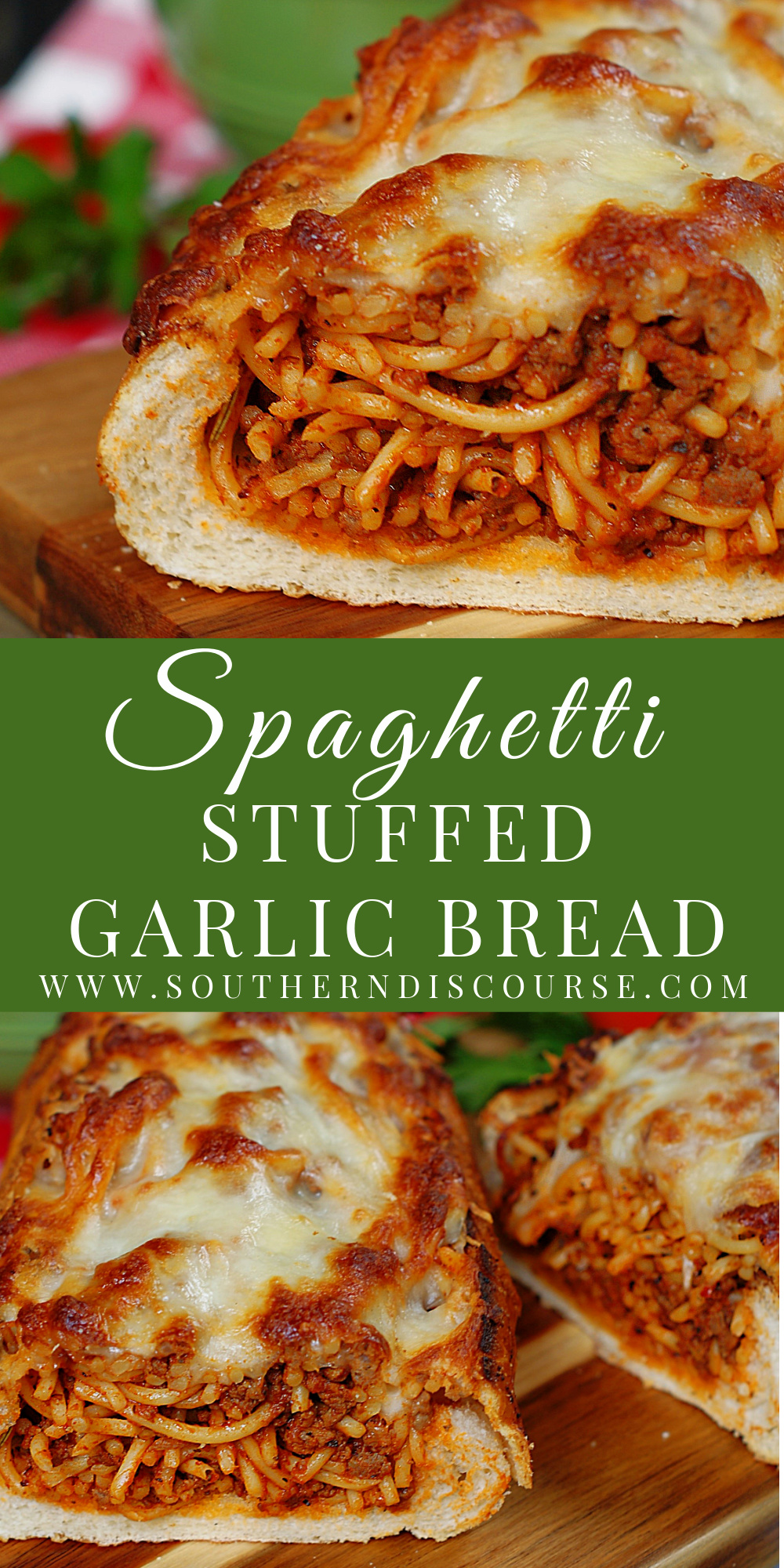 This easy, baked spaghetti stuffed garlic bread makes a great family dinner! Crisp garlic bread stuffed with homemade, cheesy spaghetti made with beef and sausage will turn dinner time into Italian bistro night! #southerndiscourse #homemade #bakedspaghetti #outofthisworld #milliondollar