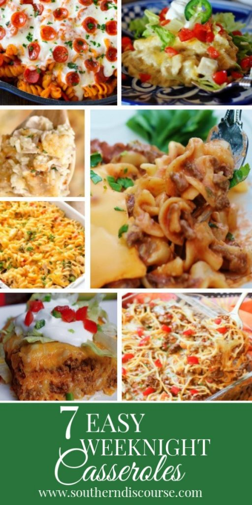 7 easy weeknight casseroles for dinner. Everything from chicken to beef, rice, pasta, Mexican and more!  All simple and kid friendly. Perfect for leftovers, freezing and making busy weeknights a breeze!  #casseroles #familymeals  #easymeals #backtoschool #weeknights