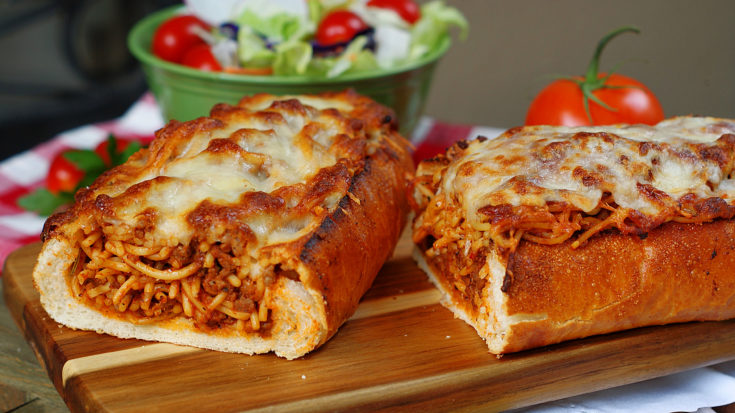 Spaghetti Stuffed Garlic Bread