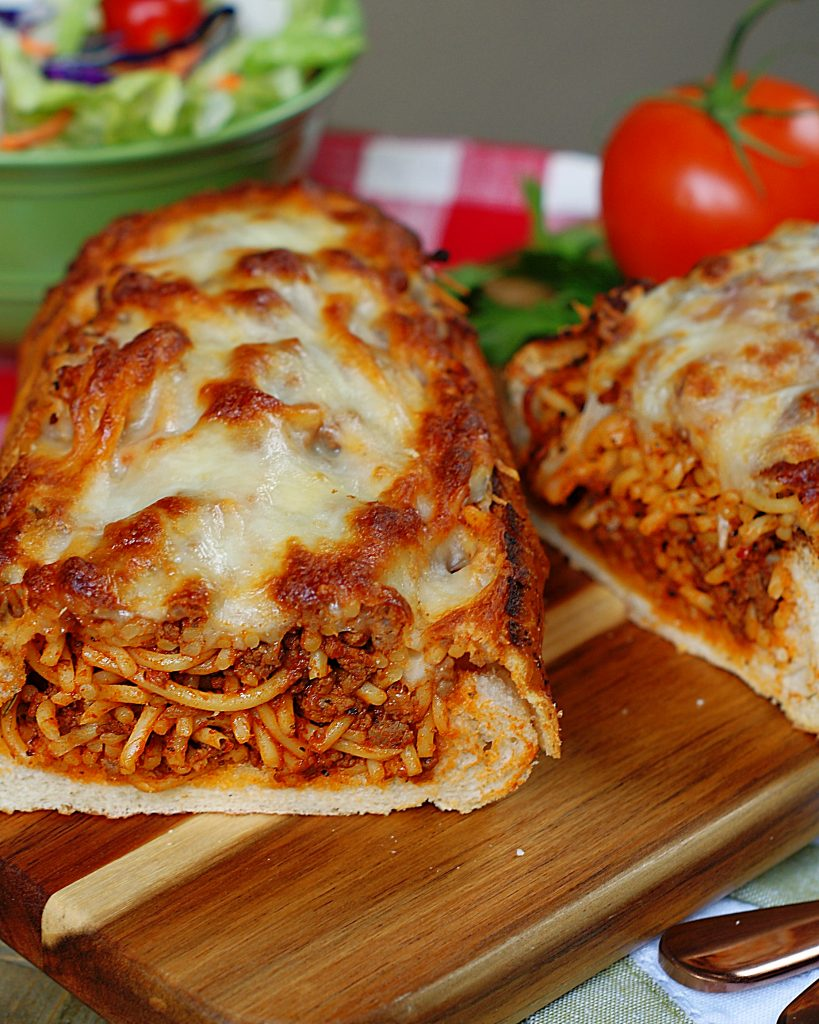 2 loaves of spaghetti stuffed garlic bread.