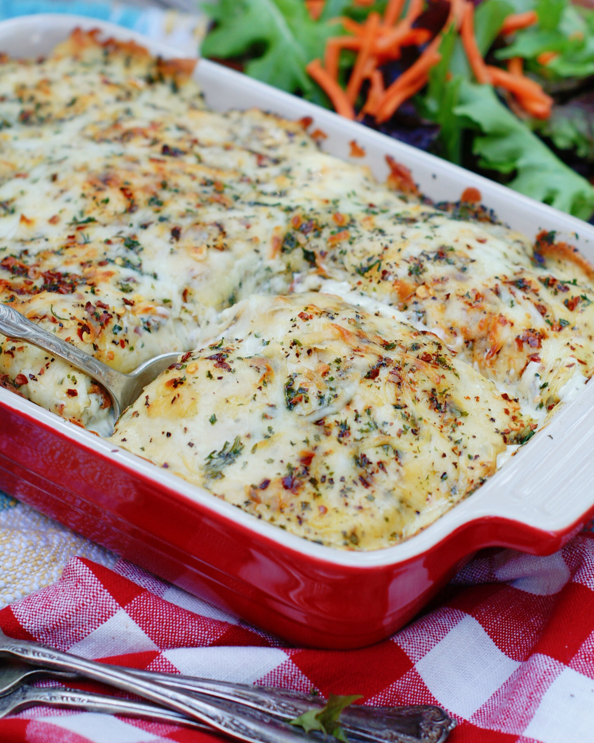 A finished ravioli casserole for a family meal