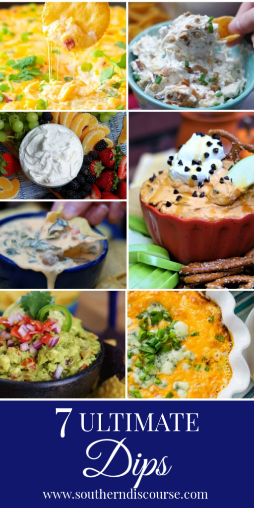 7 Ultimate Dip recipes perfect for parties, tail gates, game days, holidays or just because.  Sweet fruit dips to hot & spicy, this party dip collection has it all!  #Southerndiscourse