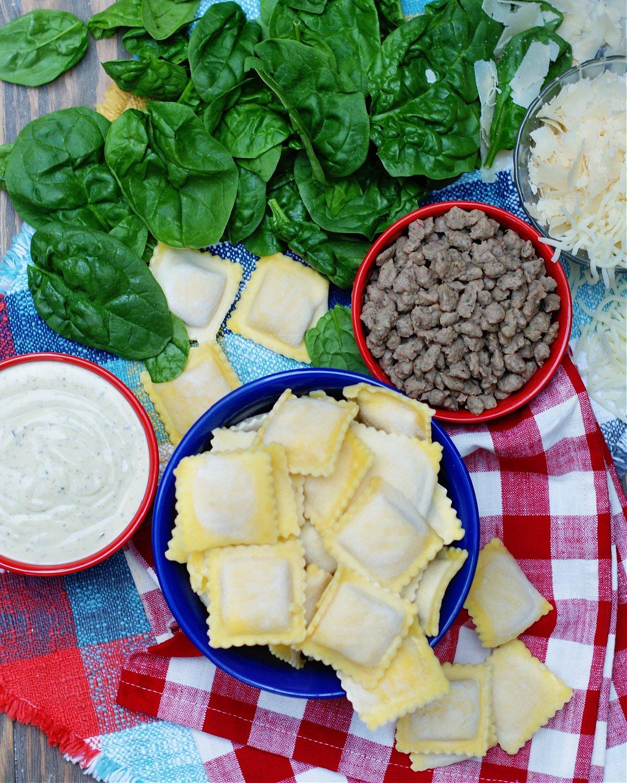 ingredients for short cut white ravioli casserole
