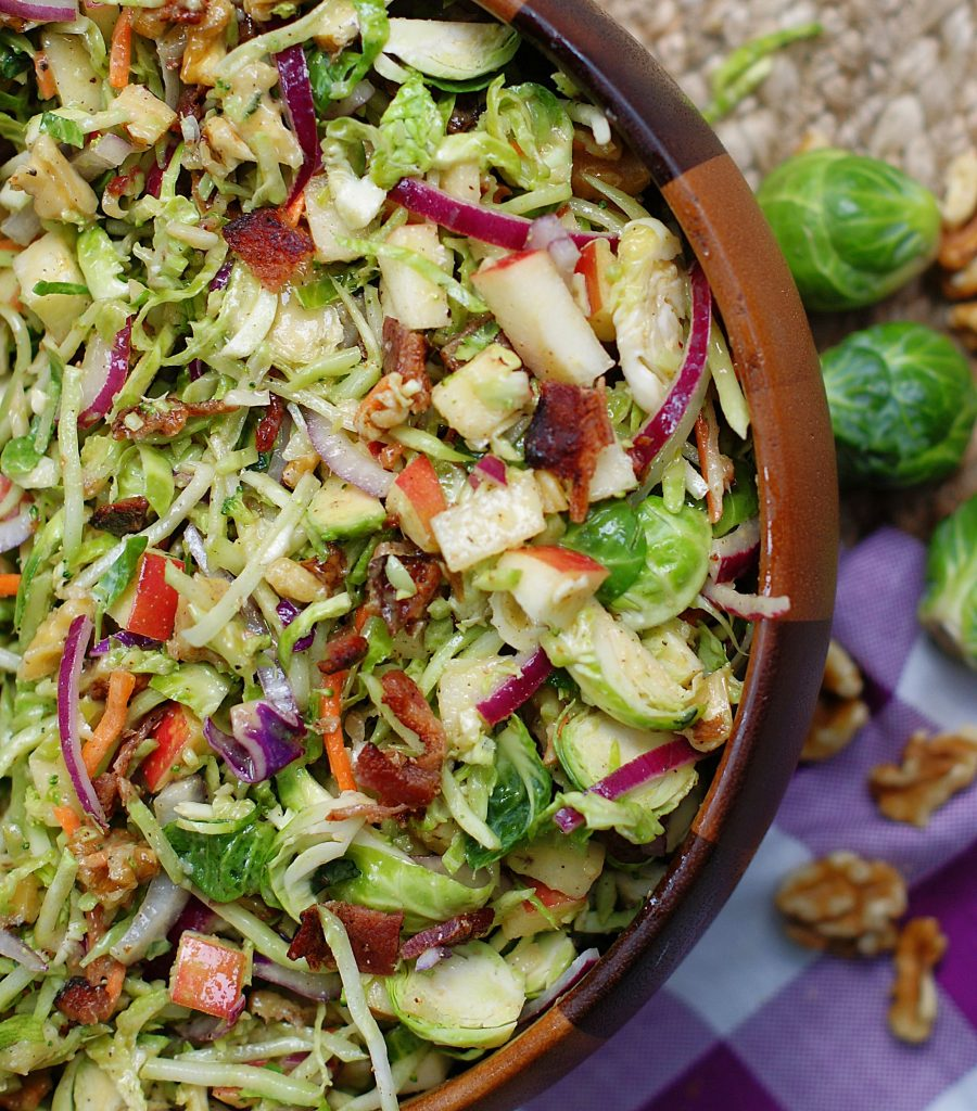 A close up of the broccoli slaw with apples and brussel sprouts