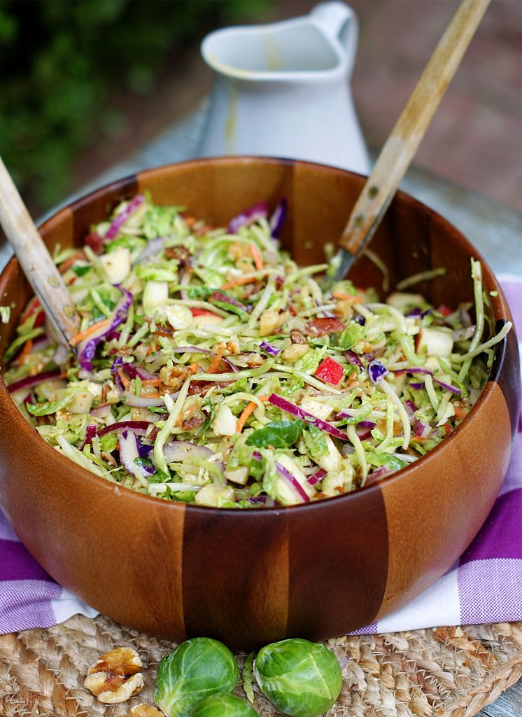 A finished bowl of Broccoli Slaw tossed in Dijon dressing