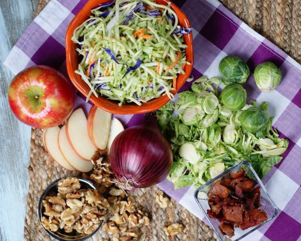 Ingredients to make Broccoli slaw