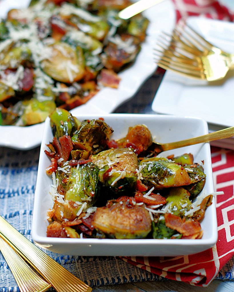 A serving of brussel sprouts.