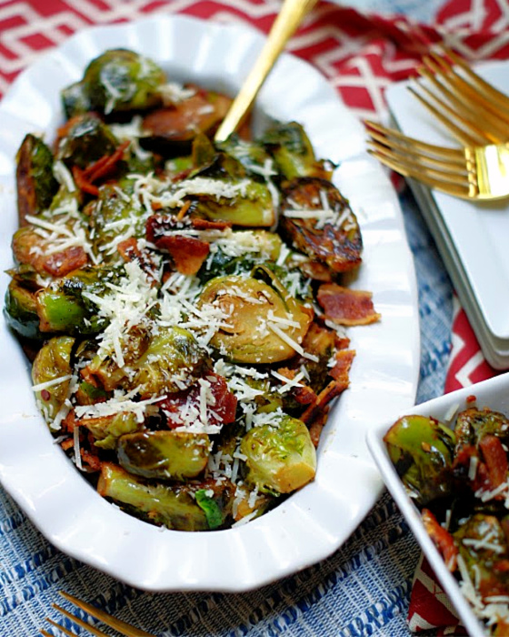 A bowl full of brussel sprouts.