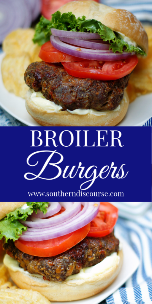 When you can't grill outside, you can still have great burgers if you know how to broil them in the oven! These broiler burgers are stuffed with shredded cheese. #southerndiscourse #beef #homemade #stuffed #juicylucy