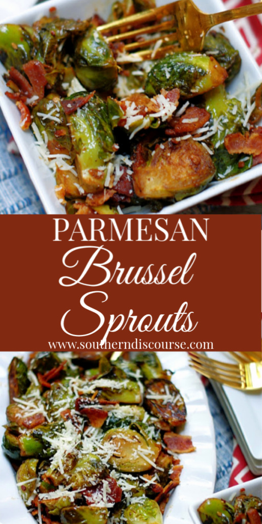 Rich & delicious brussel sprouts with bacon, simmered in white wine, butter, garlic, salt & pepper and topped with shredded Parmesan.  Cooked just right in a cast iron skillet, these sprouts have it all- carmelized edges, golden outsides and sweet centers.  Say hello to your new favorite veggie!. #southerndiscourse #sidedish #christmas #thanksgiving