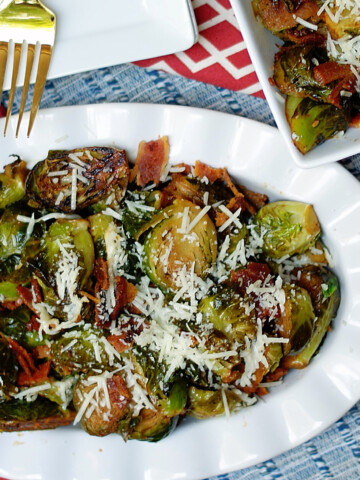 Brussel Sprouts in serving dishes.