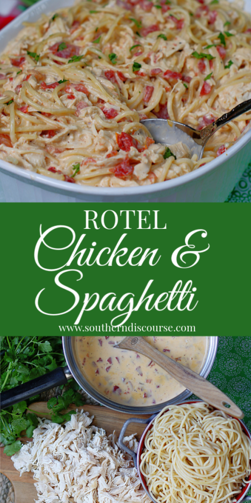 This easy chicken & spaghetti dish is loaded with creamy, cheesy goodness! Shredded chicken, Velveeta, sour cream, and Rotel tomatoes come together to make the perfect simple family dish that everyone loves! #southerndiscourse #rotel #velveeta #chickenspaghetti #best