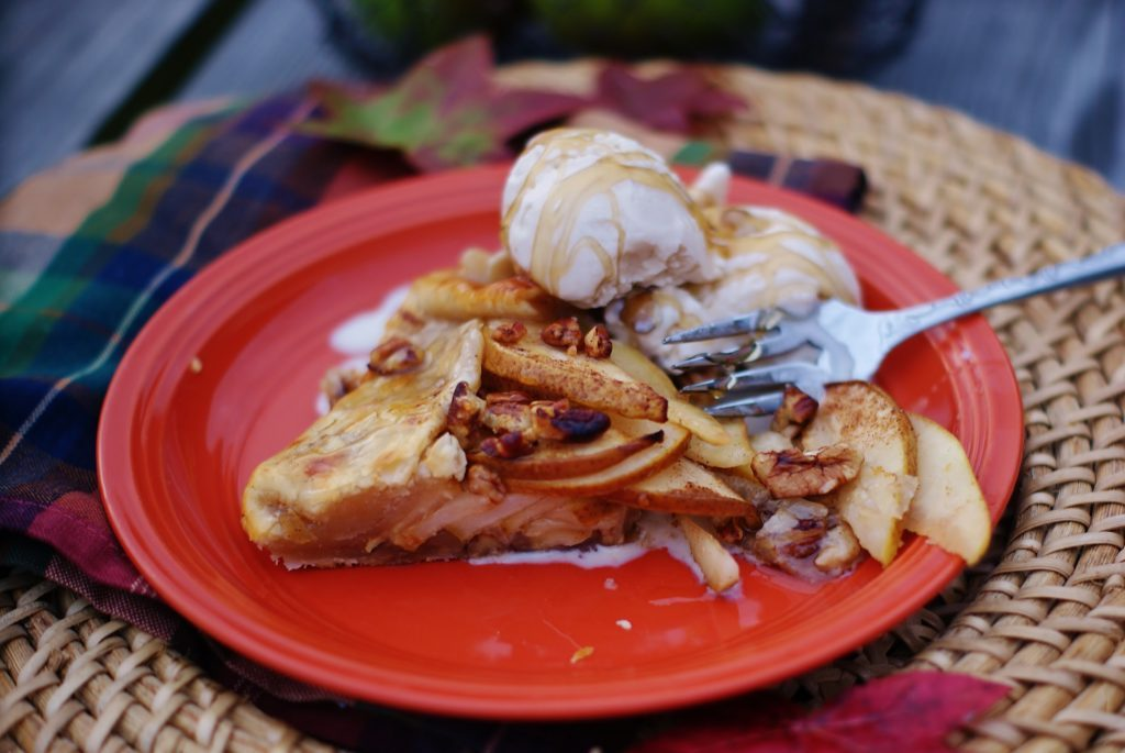 Pear Galette topped with Walnut Ice Cream & Honey