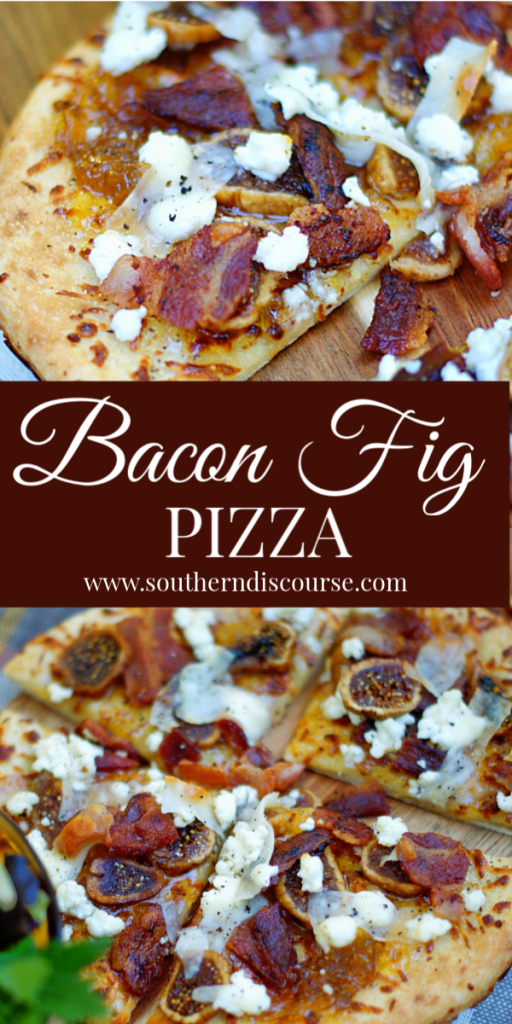 Tantalizingly sweet & savory, Bacon Fig Pizza is topped with dried (or fresh) figs, fig preserves, chopped bacon, goat cheese and shaved Parmesan.  A true comfort food, this wonderful flat bread recipe is perfect for brunch, dinner or as an appetizer! #southerndiscourse #pizza #flatbread #brunch #fig #bacon #goatcheese