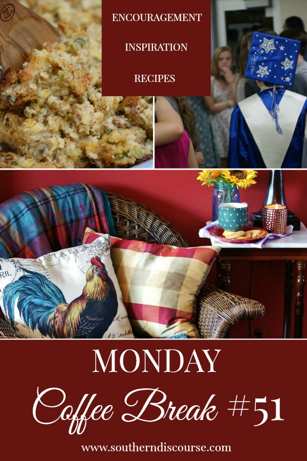 Monday Coffee Break, a weekly series full of Biblical encouragement, inspiration for easy hospitality and delicious recipes to help us live our lives Proverbs 31 strong. This week's Coffee Break features insight into ways we might be overparenting & how that hinders the growth of our children's faith, simple ways to get your home fall ready & a delicious cornbread & squash dressing. #southerndiscourse #parenting #falldecor #cornbreaddressing