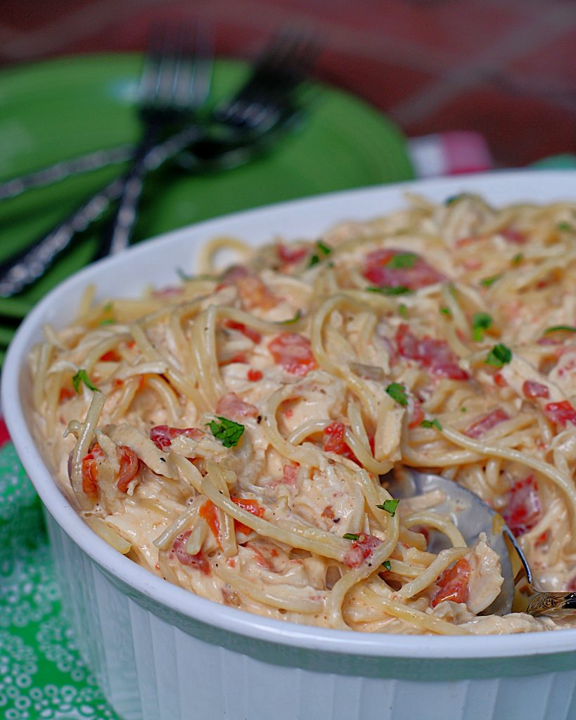 A close up of a dish of Rotel Chicken & Spaghetti