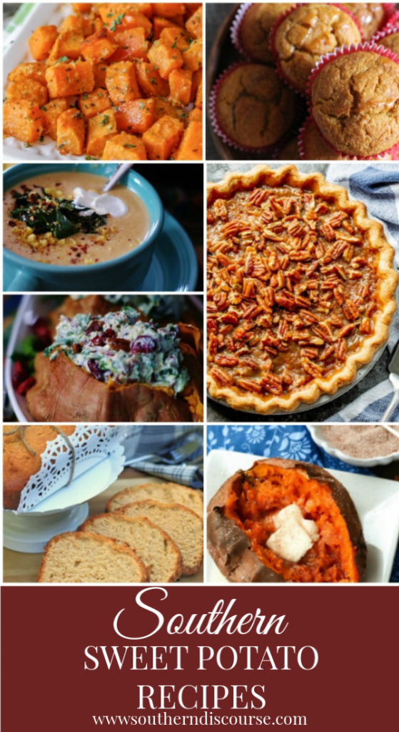Deliciously sweet & savory sweet potato recipes. Perfect for holidays and fall dinners. #southerndiscourse #sweetpotatopie #poundcake #sweetpotatosoup #airfryer #roastedsweetpotatoes #sweetpotatocornbread #stuffedsweetpotatoes