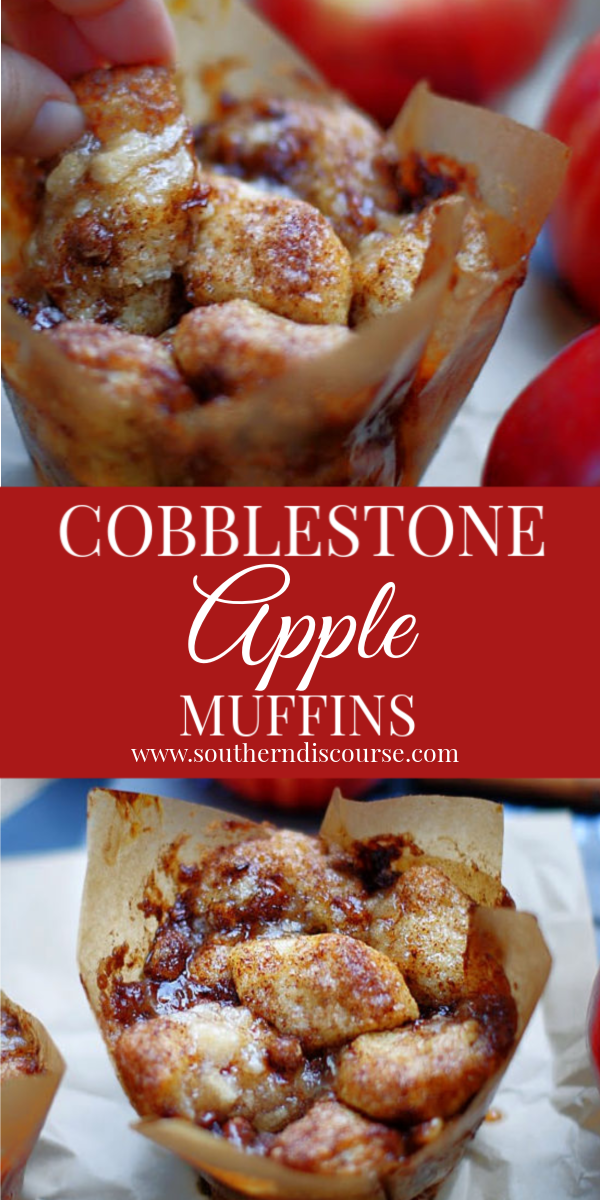 These are the BEST apple cobblestone muffins. An easy recipe, similar to Monkey Bread creates a pull apart muffin & it's own caramel sauce & is filled with apple pie filling, cream cheese & pecans. #southerndiscourse #applemuffins #cobblestone #Panera #piefilling #moist #caramel