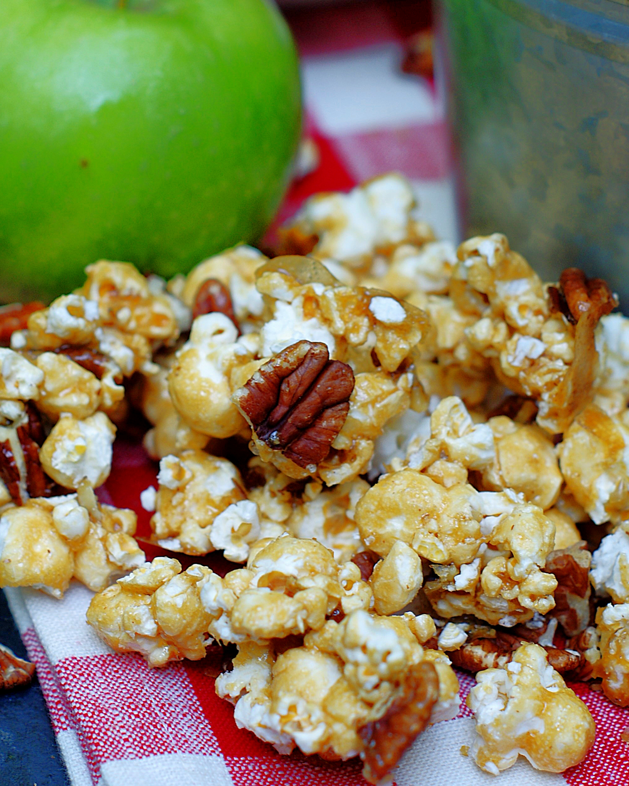 Up close of caramel apple popcorn