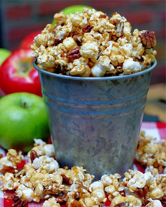 Apple Spice Caramel Corn in a galvanized bucket