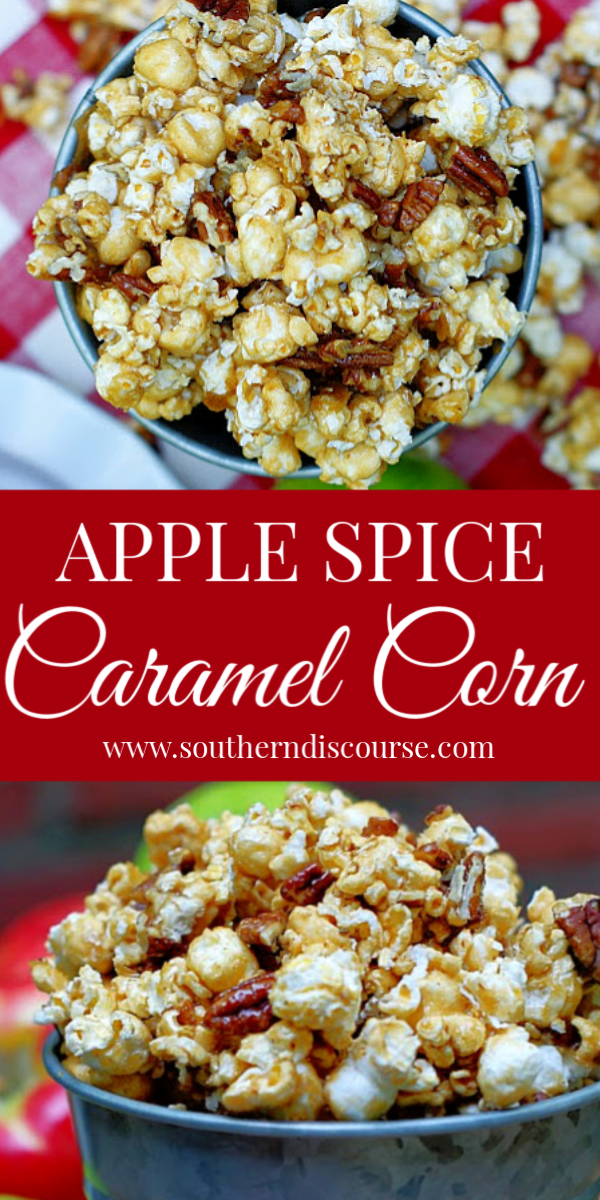 This easy recipe for caramel corn has an apple spice twist thanks to apple cider drink mix! Baked up crisp and crunchy in the oven, caramel apple popcorn is the best homemade snack for fall. #southerndiscourse #pecans #applepie #caramelapple #caramelpopcorn #karosyrup